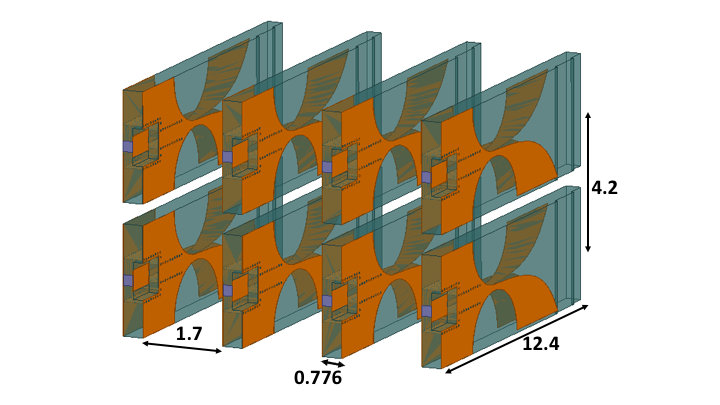 Figure 1: A 2X4 antenna array. Figure measurements are in mm