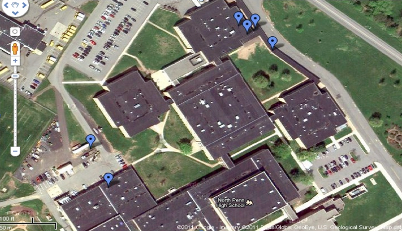Figure 2: Overhead View of Sensor Placement at North Penn High School