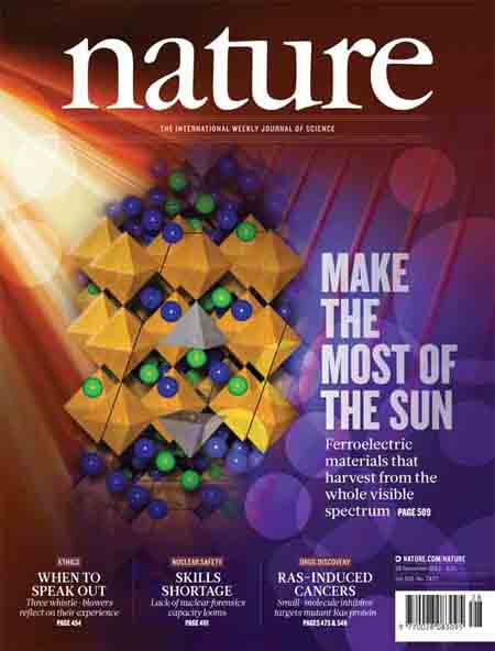 Visible light-absorbing ferroelectrics for solar energy conversion
